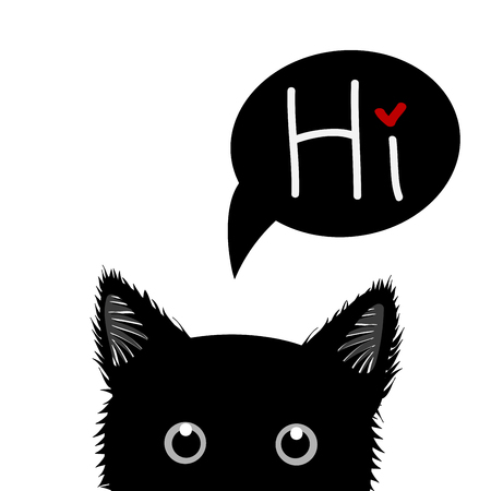 sneaking: Black Cat Sneaking Greeting Card Vector Illustration