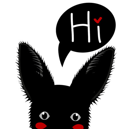 sneaking: Black Rabbit Sneaking Greeting Card Vector Illustration