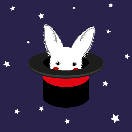 sneaking: White Rabbit in Magician Hat Vector Illustration