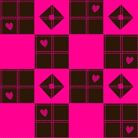 corazon: Chessboard Pink Brown Heart Valentine Background Vector Illustration Illustration