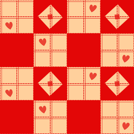 corazon: Chessboard Beige Red Heart Valentine Background Vector Illustration