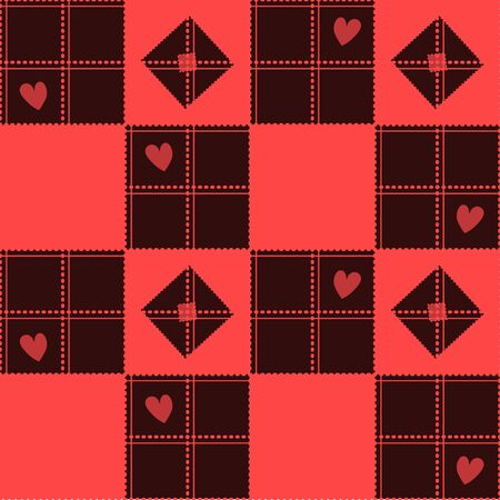 corazon: Chessboard Red Heart Valentine Background Vector Illustration