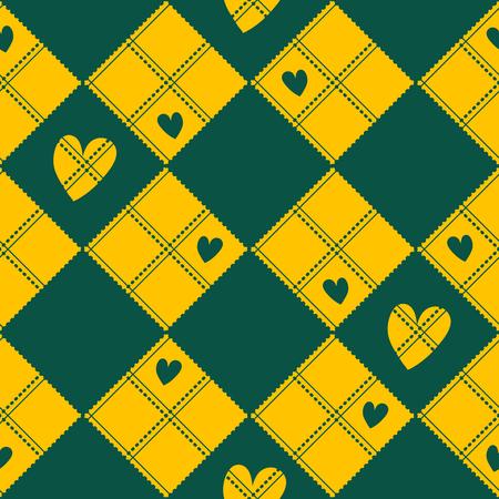 corazon: Diamond Chessboard Yellow Green Heart Valentine Background Vector Illustration Illustration