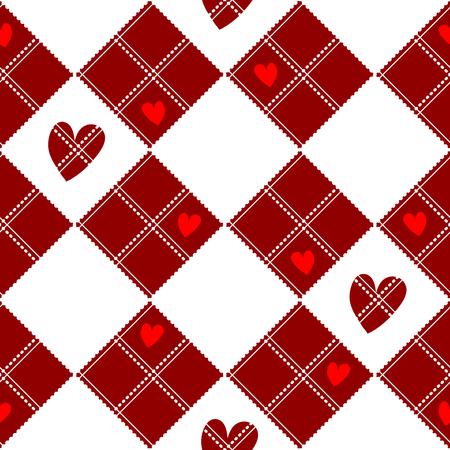 chequer: Diamond Chessboard Red Heart Valentine Background Vector Illustration