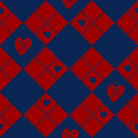 Diamond Chessboard Red  Navy Blue Heart Valentine Background Vector Illustration