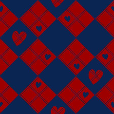 Diamond Chessboard Red  Navy Blue Heart Valentine Background Vector Illustration