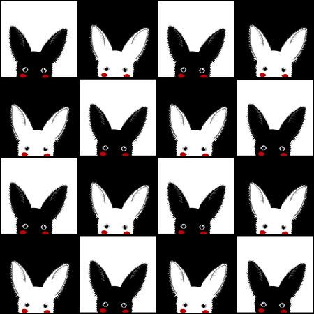 white rabbit: Black White Rabbit Chess board Background Vector Illustration Illustration