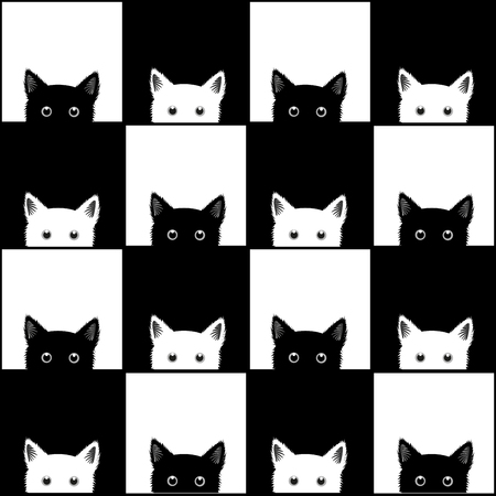 sneaking: Black White Cat Chess board Background Vector Illustration