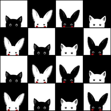sneaking: Black White Cat Rabbit Chess board Background Vector Illustration