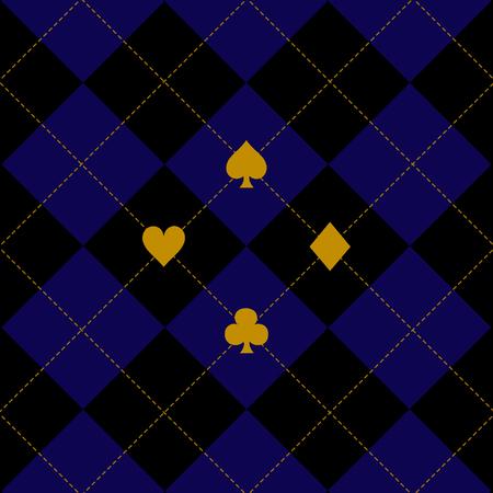 royal blue: Card Suits Black Royal Blue Diamond Background Vector Illustration