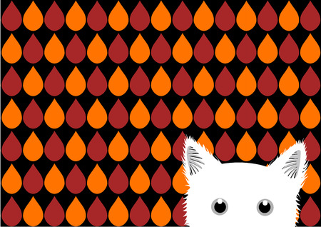 sneaking: White Cat Orange Red Brown Drops Background Vector Illustration