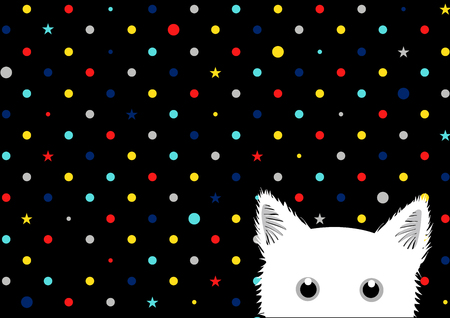 sneaking: White Cat Colorful Dots Star Background Vector Illustration