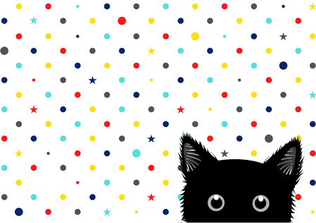 sneaking: Black Cat Colorful Dots Star Background Vector Illustration