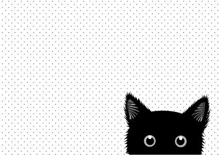 Black Cat Dots Background Vector Illustration Vettoriali
