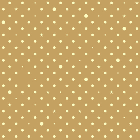 Brown Yellow Star Polka Dots Background Vector Illustration