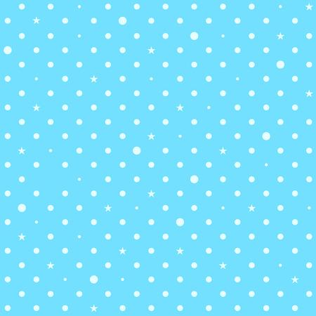 スカイブルー ホワイト スター水玉背景ベクトル イラスト
