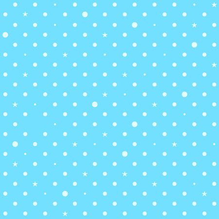 Sky Blue White Star Polka Dots Background Vector Illustration