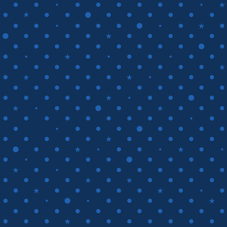 Navy Royal Blue Star Polka Dots Background Vector Illustration  イラスト・ベクター素材