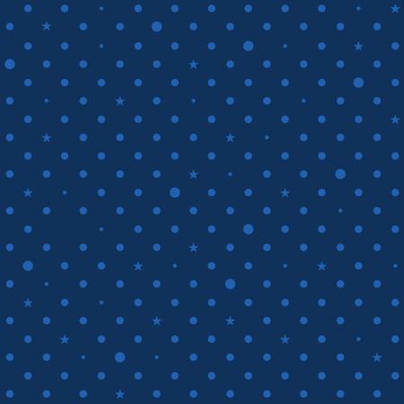 Navy Royal Blue Star Polka Dots Background Vector Illustration Illustration