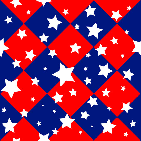 chequer: Stars USA Flag Diamond Chessboard Background Vector Illustration