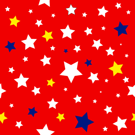 history month: Stars Red White Yellow Blue Pattern Vector Illustration