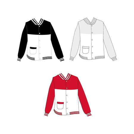 collegiate: Baseball Jacket Design Vector Illustration