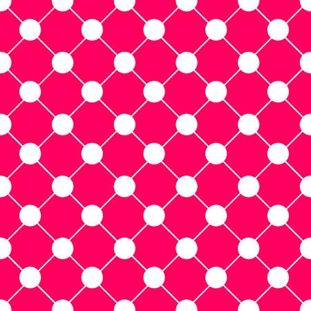 ホワイト水玉チェス ボード グリッド ホット ピンク背景ベクトル イラスト