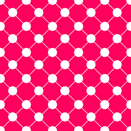 White Polka dot Chess Board Grid Hot Pink Background Vector Illustration Illusztráció
