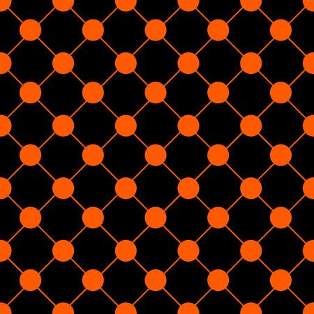 grid black background: Orange Polka dot Chess Board Grid Black Background Vector Illustration