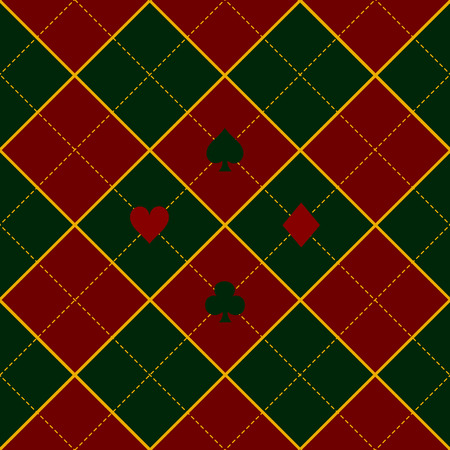 red diamond: Card Suits Green Royal Red Diamond Background Vector Illustration
