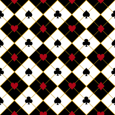 chequer: Card Suits Royal Red Black Diamond Background Vector Illustration