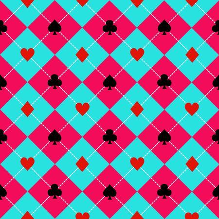 card suits symbol: Card Suits Blue Sky Pink Diamond Background Vector Illustration Illustration