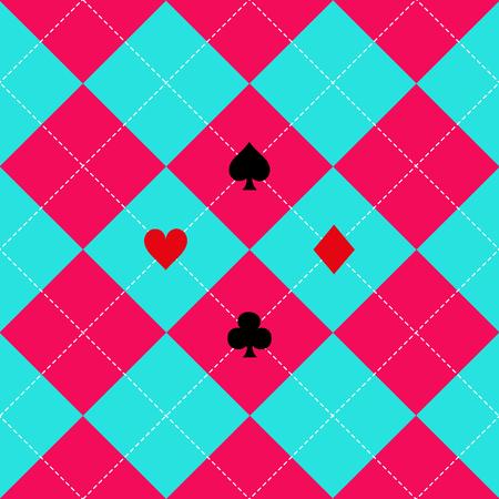 corazones azules: Juegos de la tarjeta rosa del cielo azul diamante ilustración vectorial Vectores