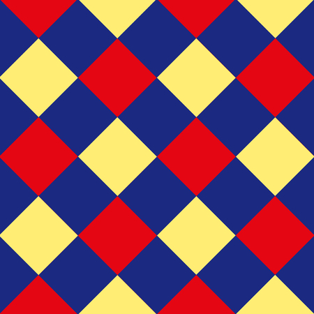 chequer: Blue Red Yellow Diamond Chessboard Background Vector Illustration
