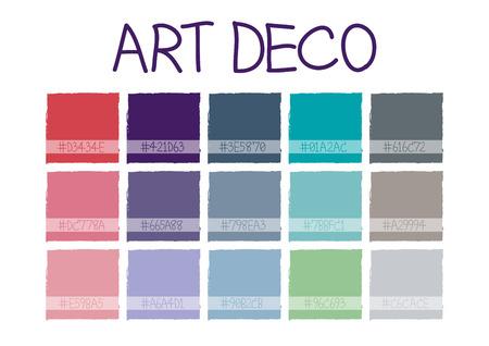 retro color: Art Deco Color Tone with Code Vector Illustration