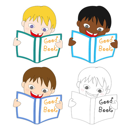 young schoolchild: Young Boy Reading Good Book Vector Illustration