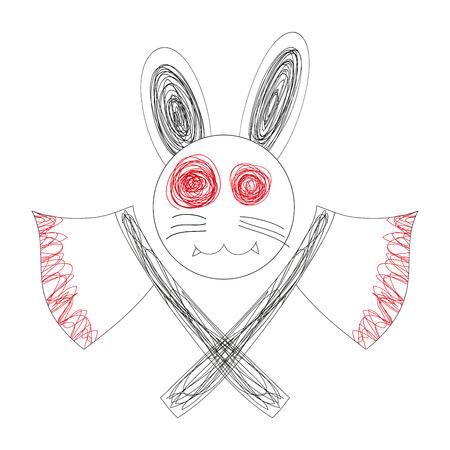 hellish: Blood White Rabbit with Axe Logo. Doodle Rabbit, Drawing Rabbit Logo. Rabbit Face. Cartoon Rabbit.White Rabbit. Rabbit Vector. Rabbit Illustraion. Halloweens Day.