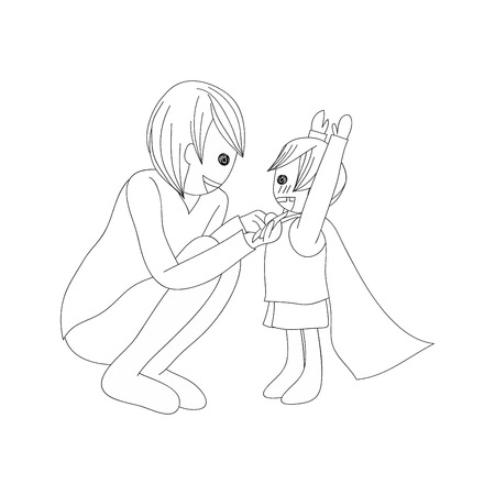 no color: Father and Son Dressing to be Hero no Color. Vector Illustration. Fathers Day Design.