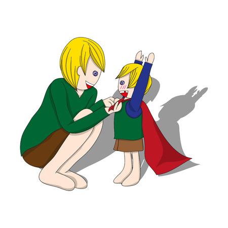 Vader en Zoon Dressing om held te zijn. Vector Illustratie. Father's Day Design. Stock Illustratie