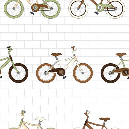 white brick: Vintage Bicycle on White Brick Wall Seamless Vector illustration Background Illustration