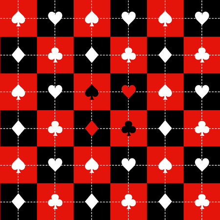 chequer: Card Suits Red Black White Chess Board Background Vector Illustration