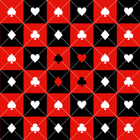 Card Suits Red Black White Chess Board Diamond Background Vector Illustration Ilustração