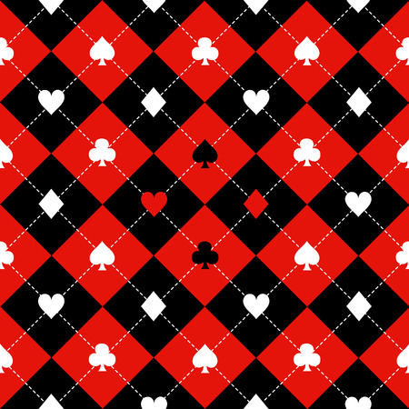 Card Suits Red Black White Chess Board Diamond Background Vector Illustration