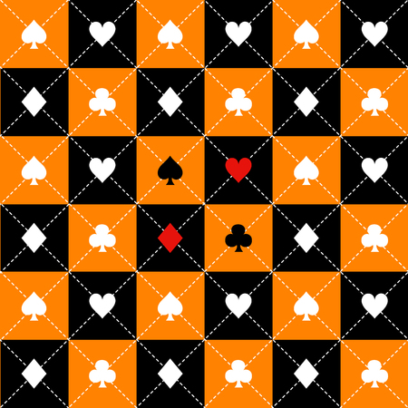 Card Suits Orange Black White Chess Board Diamond Background Vector Illustration