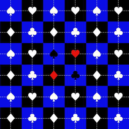 queen of clubs: Card Suits Blue Black White Chess Board Background Vector Illustration
