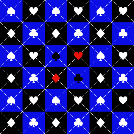 chequer: Card Suits Blue Black White Chess Board Diamond Background Vector Illustration