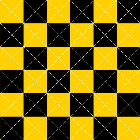 chequer: Yellow Black White Chess Board Diamond Background Vector Illustration