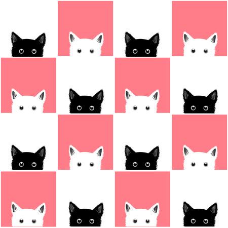 블랙 화이트 핑크 고양이 체스 보드 배경 벡터 일러스트 레이 션 일러스트