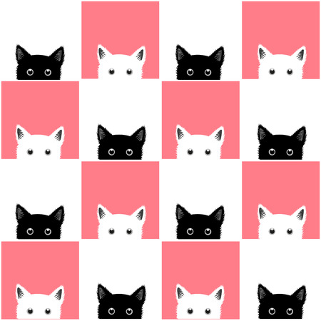 Black White Pink Cat Chess board Background Vector Illustration Çizim