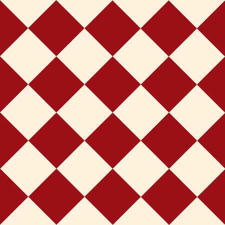 Red Cream Chess Board Diamond Background Vector Illustration